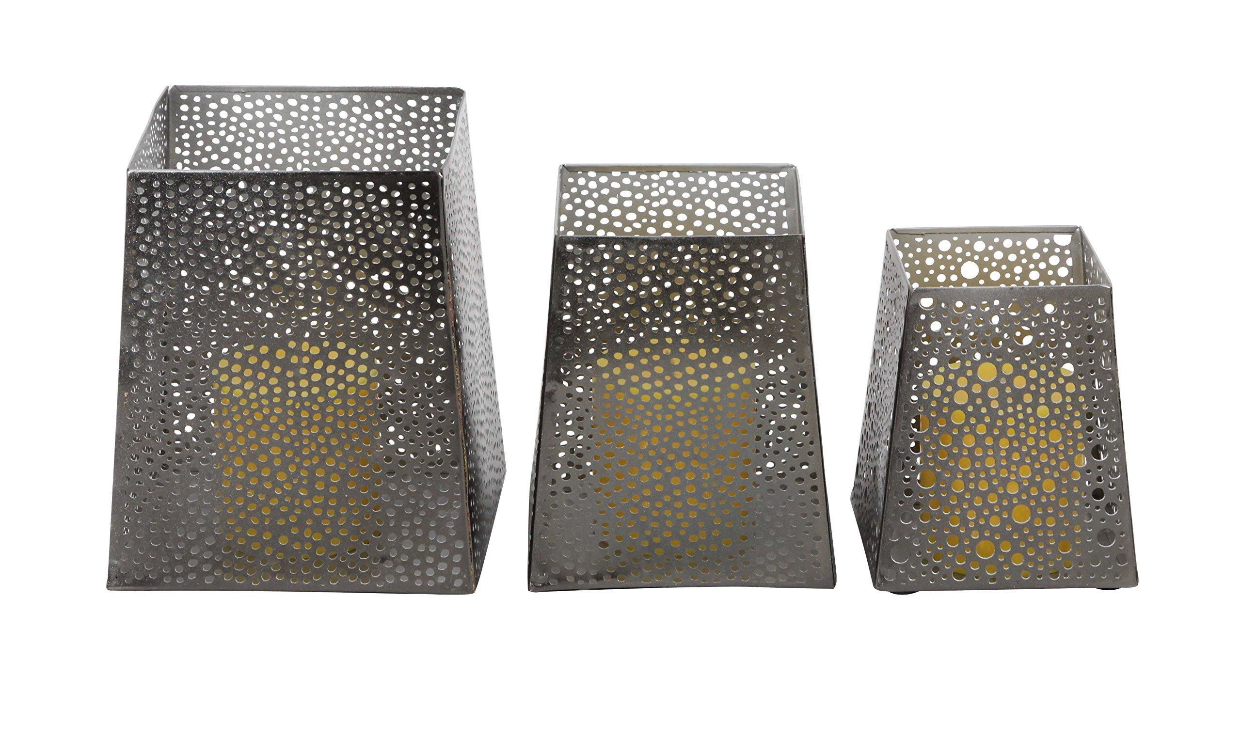 Deco 79 57347 Matte Iron Trapezoidal Candle Holders (Set of 3), 5'' x 6'' x 7'', Gray