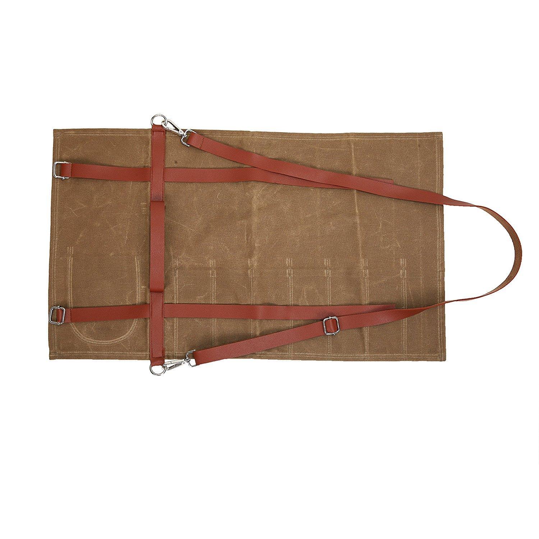 Fushida 8 Compartimentos Color marr/ón Resistente Bolsa de Lona Encerada para Cuchillos Estuche para Cuchillos de Chef Resistente al Agua Camping Estuche de Almacenamiento para Caza