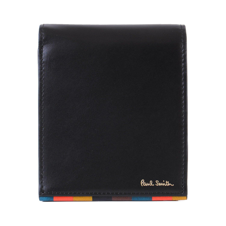 [名入れ可] (ポールスミス) Paul Smith ブライトストライプトリム 本革 二つ折り 財布 ショップバッグ付き ポールスミス レザー ウォレット B07B7K1YDC 名入れあり|ブラック ブラック 名入れあり