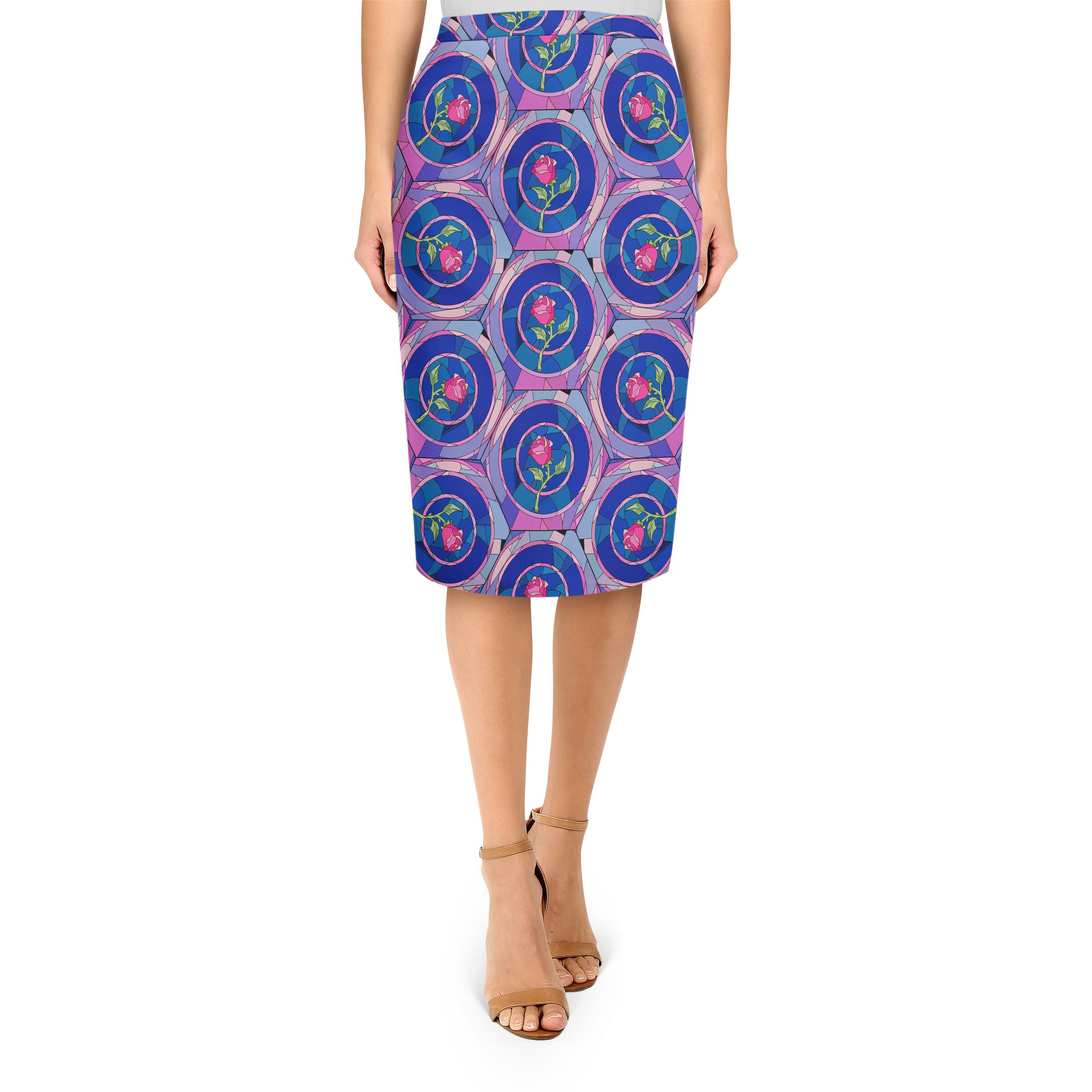 Stained Glass Rose Disney Inspired Midi Pencil Skirt - 3XL