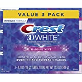 Crest 3D White, Whitening Toothpaste, Radiant Mint, 4.8 Ounce, Pack of 3
