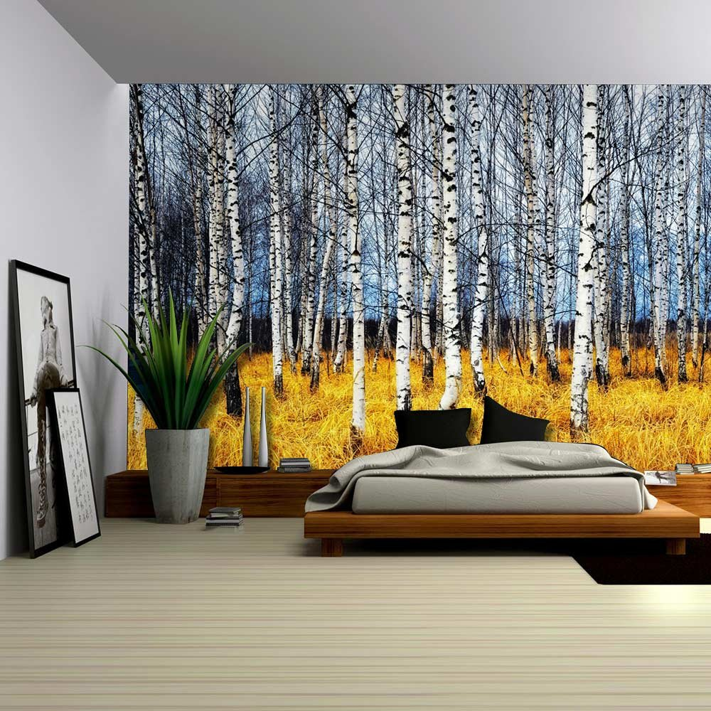 Art prints framed art canvas prints for Birch tree forest wall mural