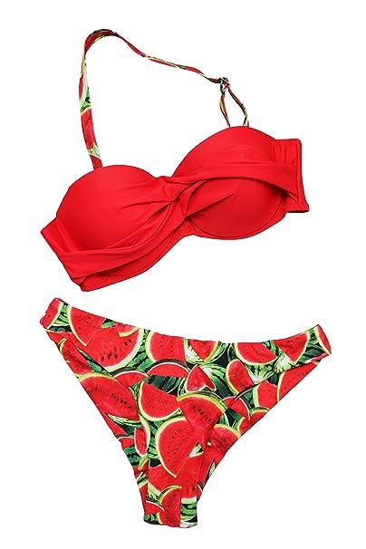 Frutas Rojo Traje Feretil Mujer Sandias Baño Con De Bikini Sandia 4ARj53cLq