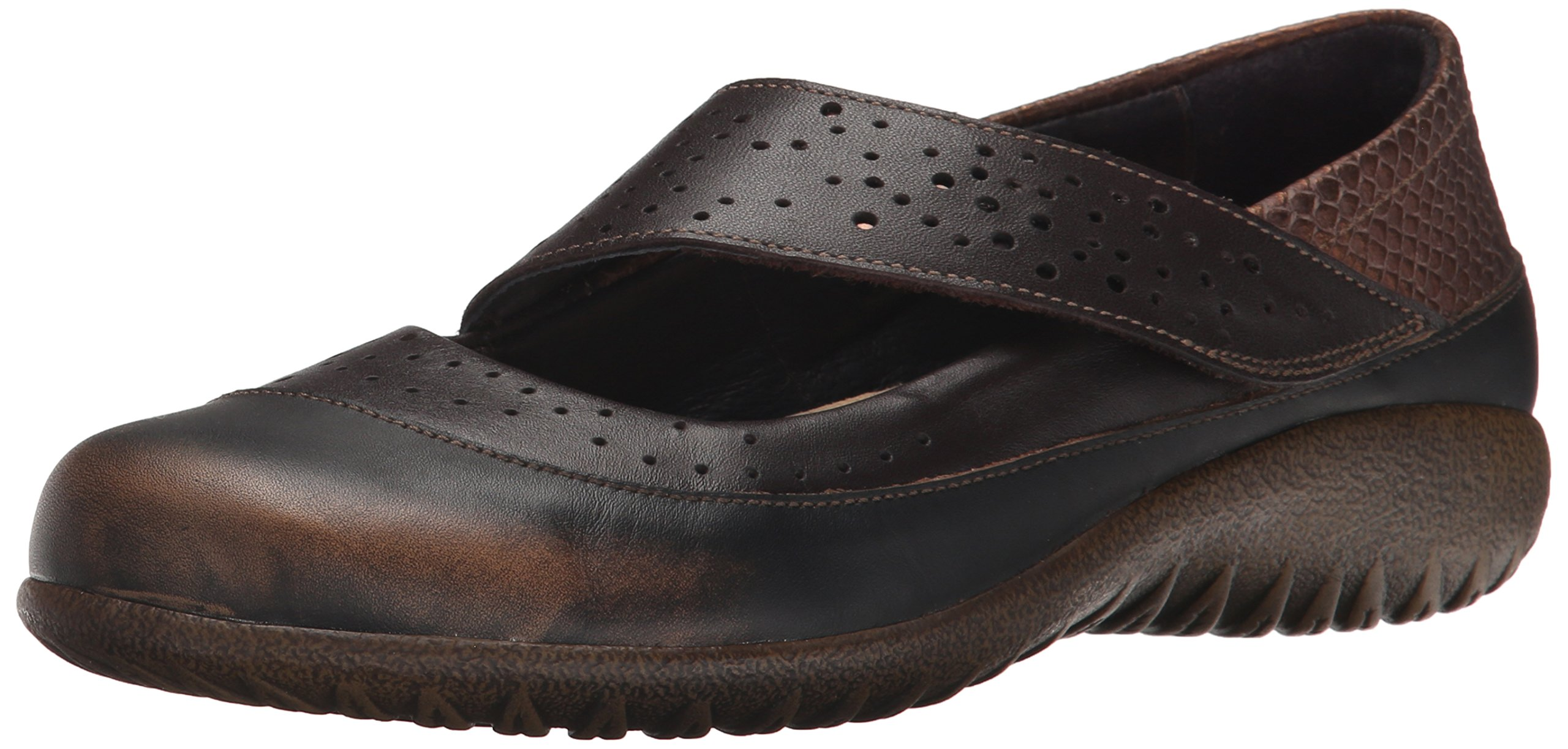 NAOT Women's Aroha Mary Jane Flat, Volcanic Brown Leather/French Roast Leather/Brown Lizard Leather/Glass Brown, 36 EU/5-5.5 M US