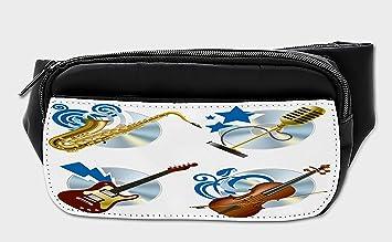 86786ab05a5b Amazon.com | Lunarable Music Bumbag, Jazz Instrument Icons Graphic ...