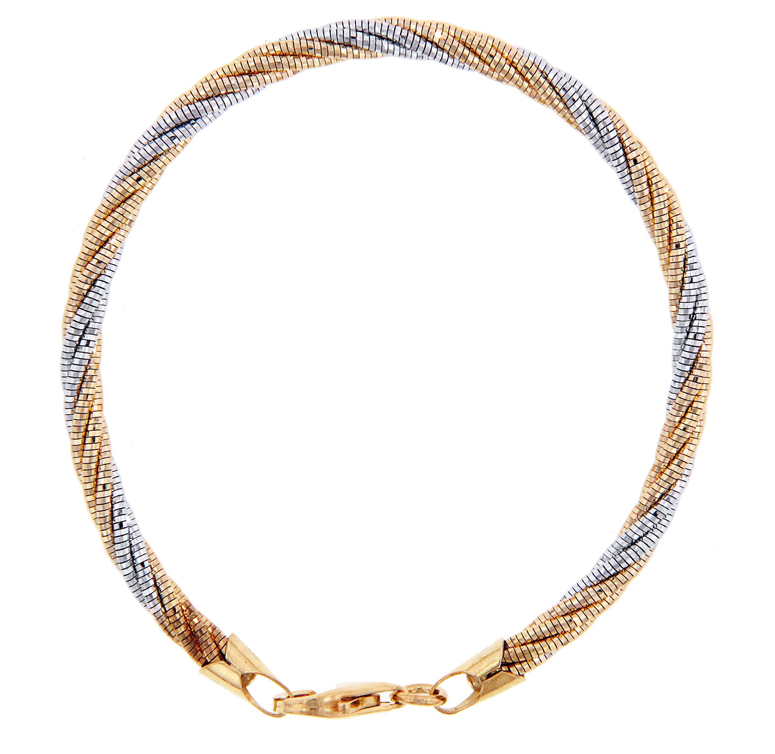 Officina Bernardi Sterling Silver Two-Tone 5 Row Spring Bracelet (7) by Officina Bernardi