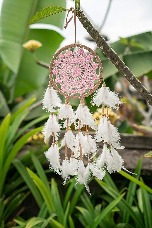 atrapasue/ños de ensue/ño en color beige y rosa atrapasue/ños hechos a mano con plumas y perlas de madera Atrapasue/ños de Hago de alta calidad para sue/ños agradables