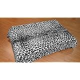 Solaron Leopard Print Grey and Black Mink Blanket (Queen)