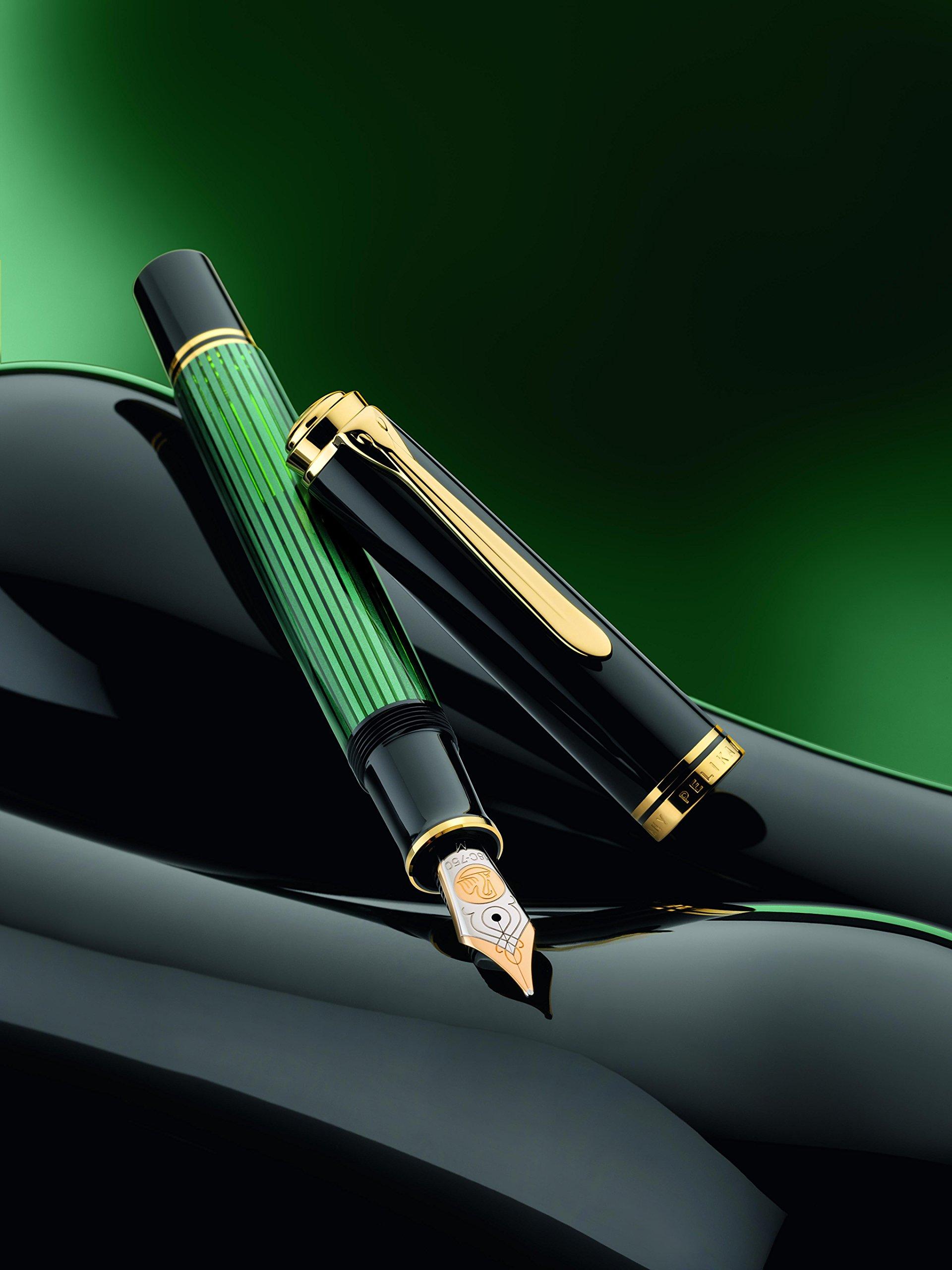 Pelikan Souveran M600 Black/Green GT Medium Point Fountain Pen - 9800 by Pelikan (Image #2)