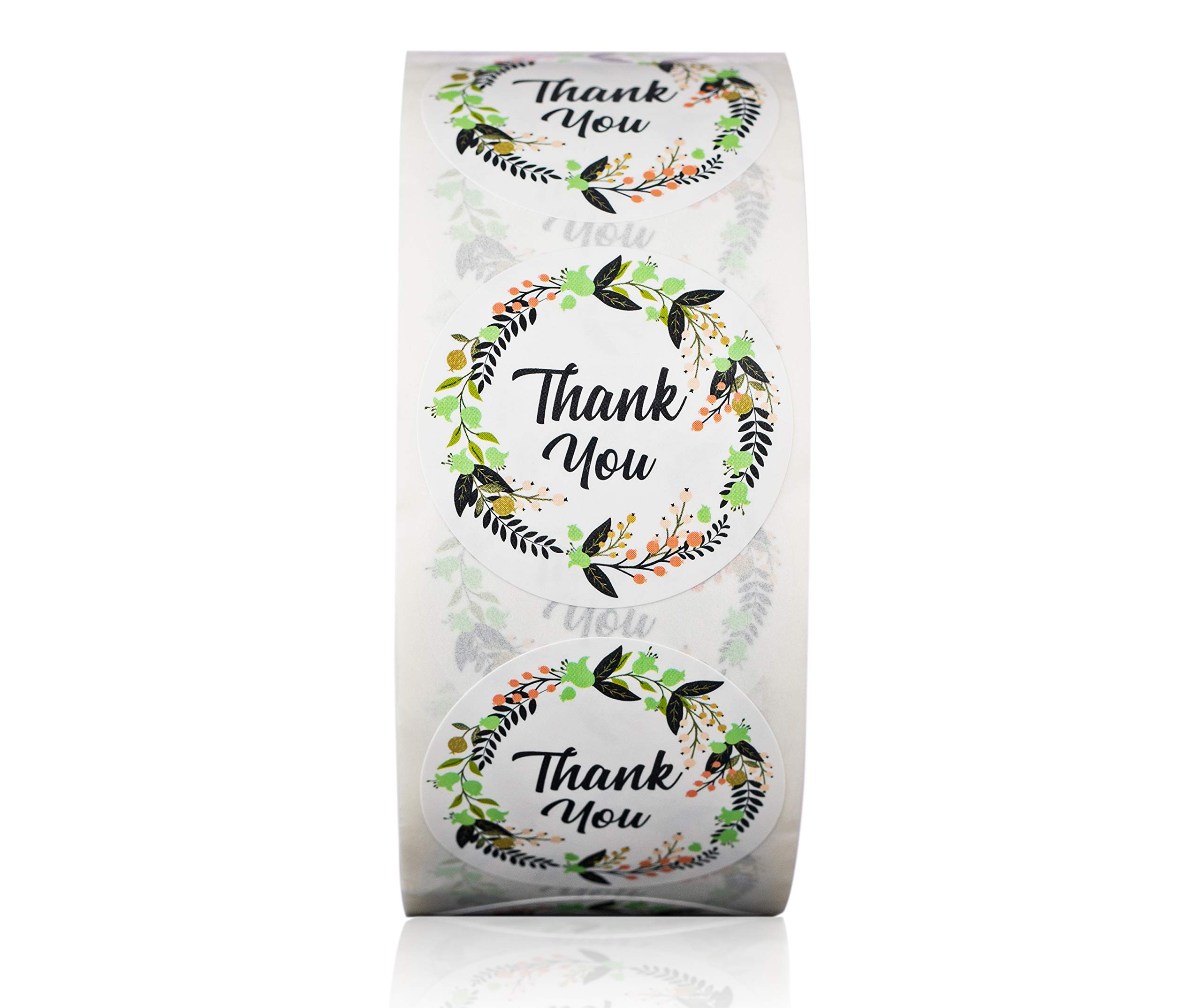 Ivy Paper Co Modern Floral Thank You Stickers | Roll of 1000 | 1.5'' Flower Envelope Sealers | Beautiful Circle Labels for Business, Gifts, Bridal, Thank You Cards Notes | Boho Gift Tags |Cute Stickers by Ivy Paper Co (Image #1)
