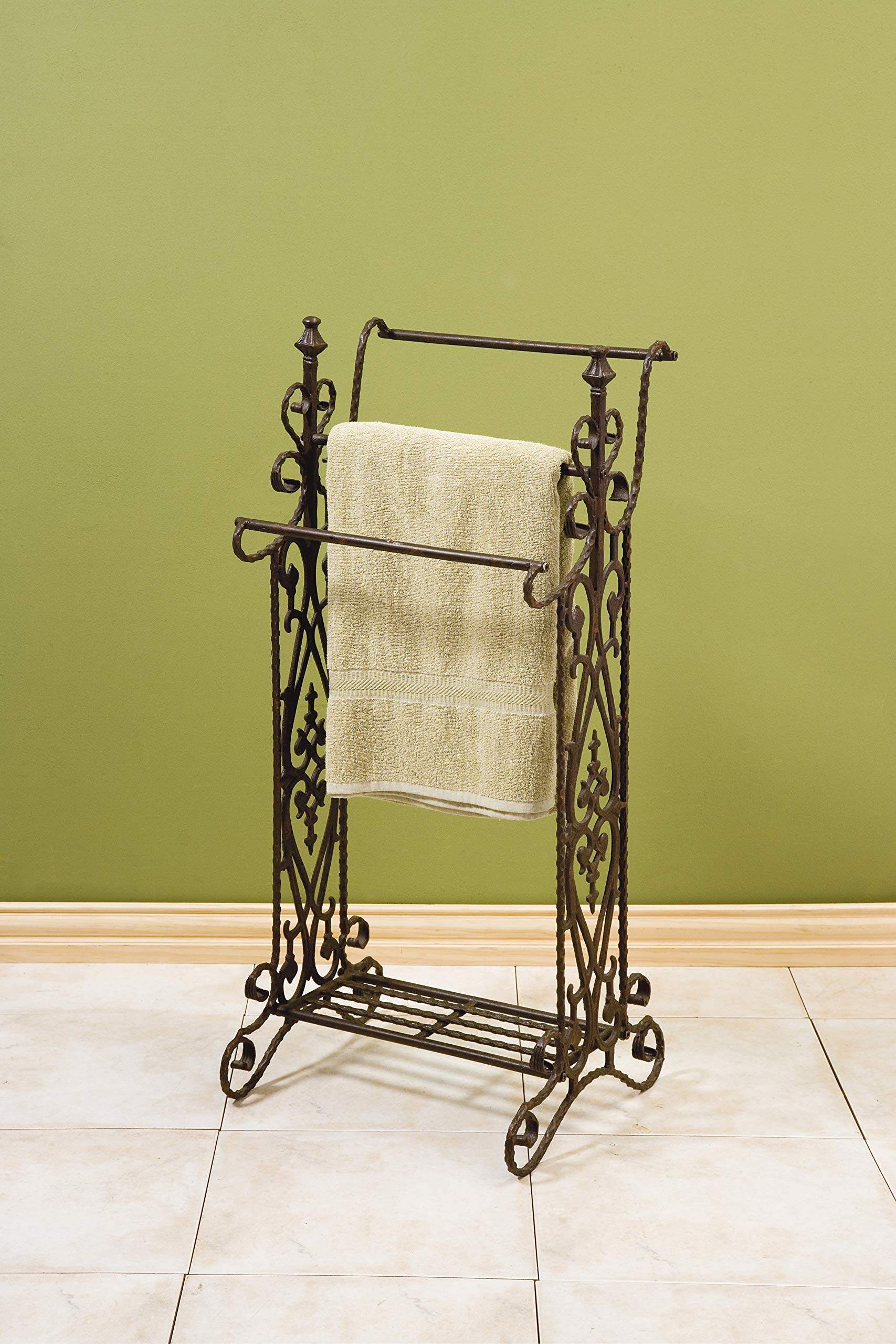 IMAX 7781 Narrow Quilt Rack - Three Bar Wrought Iron Stand, Floor Display Stand for Living Room, Bathroom, Compact Towel Rail. Home Decor Accessories