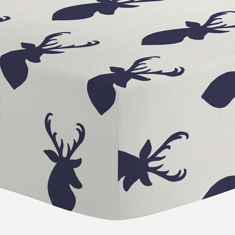 Carousel Designs Windsor Navy Deer Head Crib Sheet by Carousel Designs   B01AB244EE