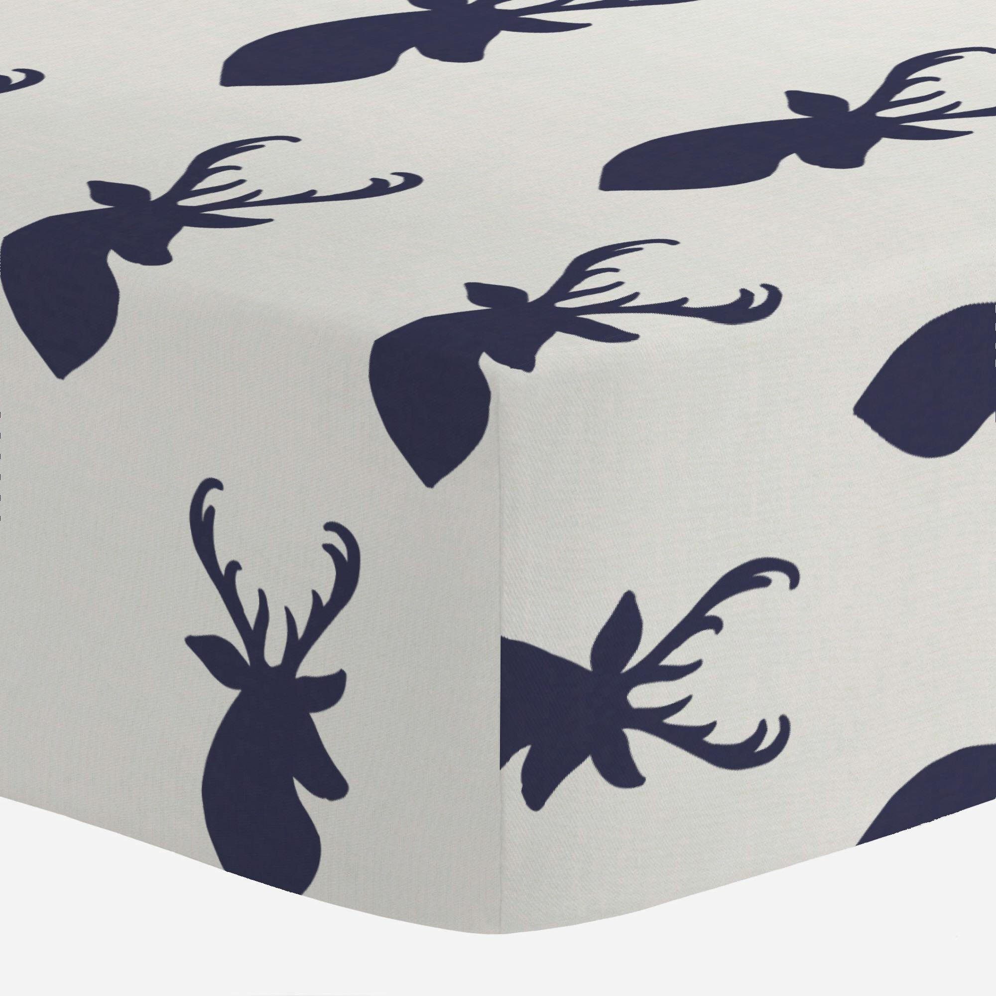 47655820c6cd Amazon.com   Carousel Designs Windsor Navy Deer Head Crib Sheet ...