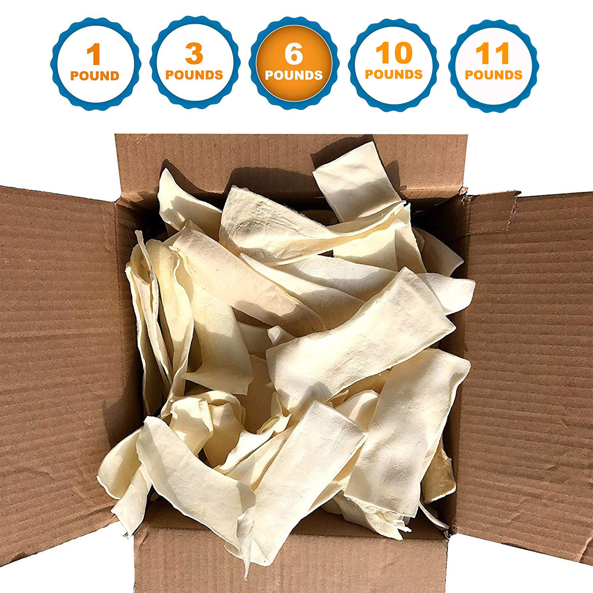 123 Treats - Rawhide Chips for Dogs (6 Pounds) Quality Bulk Dog Chews - No Additives, Chemicals or Hormones from Natural Grass Fed Livestock by 123 Treats
