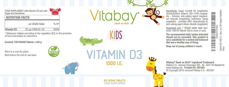 Vitamina D3 1000 UI - Ideal para chupar o masticar (120 tabletas veganas): Amazon.es: Salud y cuidado personal