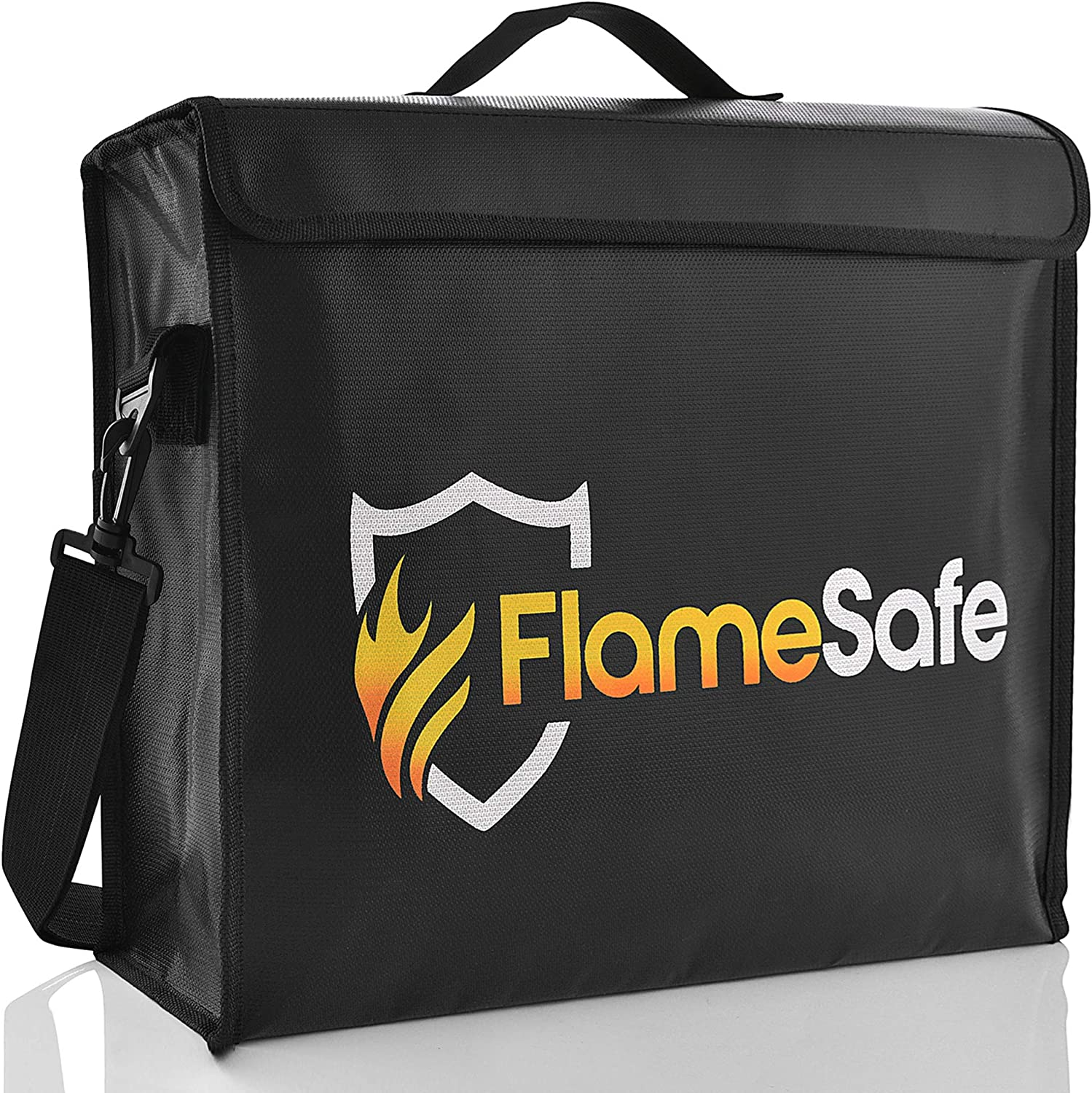 """FlameSafe XL Premium Fireproof Document Bag (16""""x12""""x 4"""") New Non-Itch Triple Layer Silicone Fiberglass Protection With Upgraded Heavy Duty Zipper. Fireproof Waterproof Document Holder And Money Safe"""