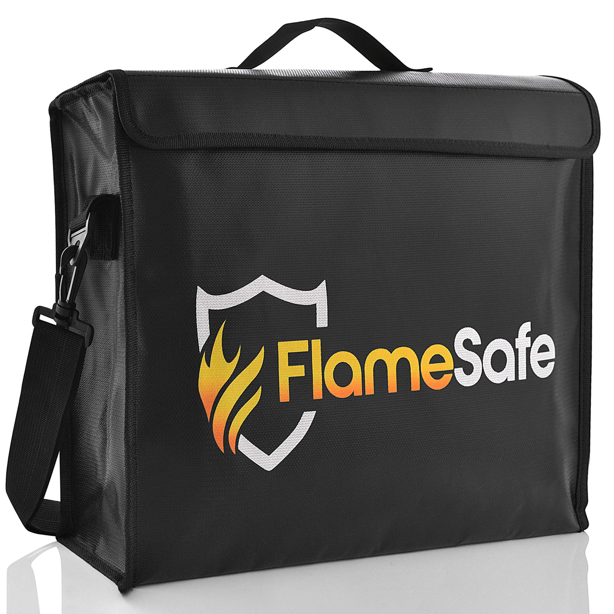 FlameSafe XL Premium Fireproof Document Bag (16''x12''x 4'') New Non-Itch Triple Layer Silicone Fiberglass Protection With Upgraded Heavy Duty Zipper. Fireproof Waterproof Document Holder And Money Safe
