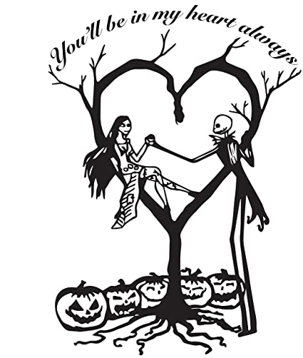 la decal jack and sally nightmare before christmas in love forever in my heart always car - Christmas In Black And White