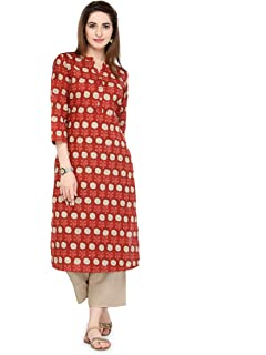 3dc8fd65d5efe4 Varanga Women s Cotton Printed Kurta  Amazon.in  Clothing   Accessories