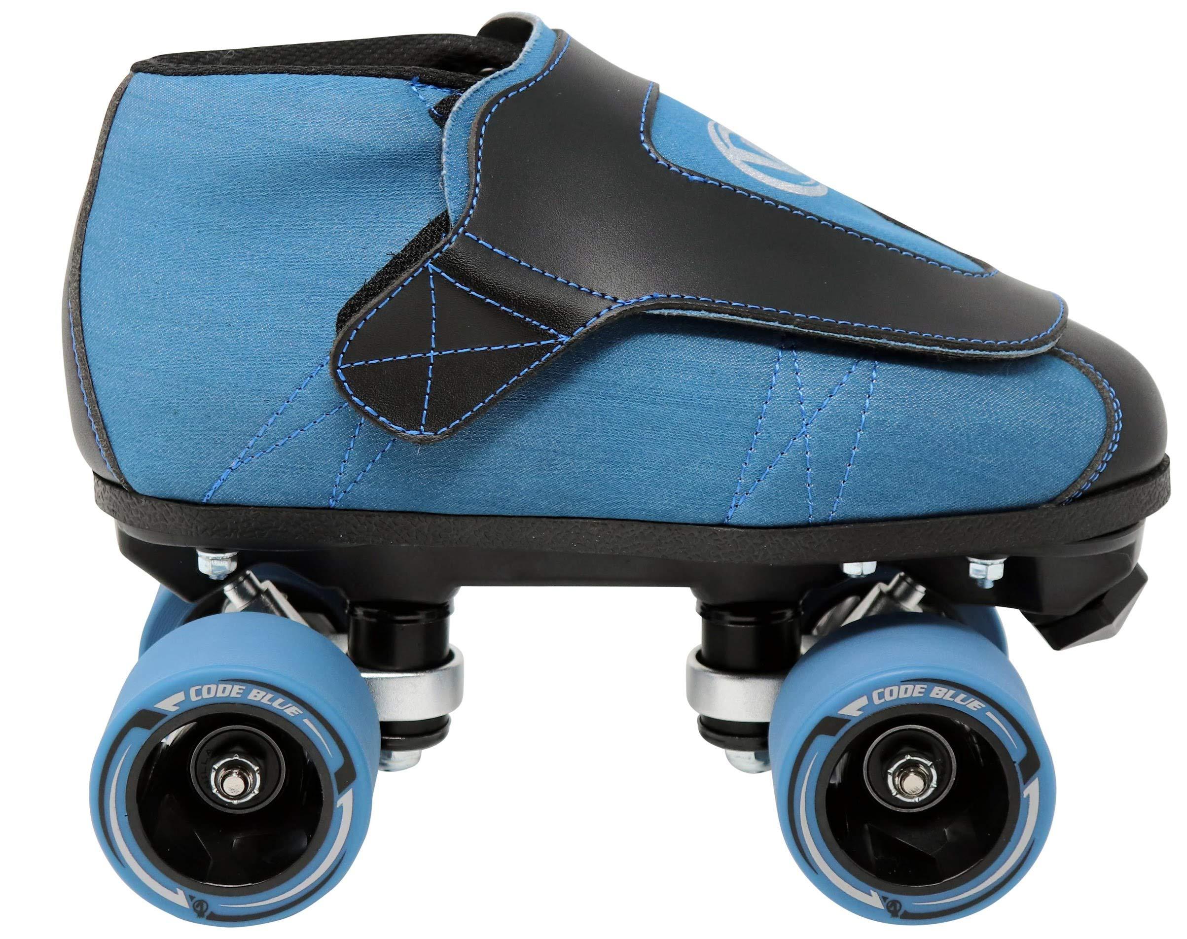 VNLA Code Blue Jam Skate - Mens & Womens Speed Skates - Quad Skates for Women & Men - Adjustable Roller Skate/Rollerskates - Outdoor & Indoor Adult Quad Skate - Kid/Kids Roller Skates (Size 9) by VNLA (Image #2)
