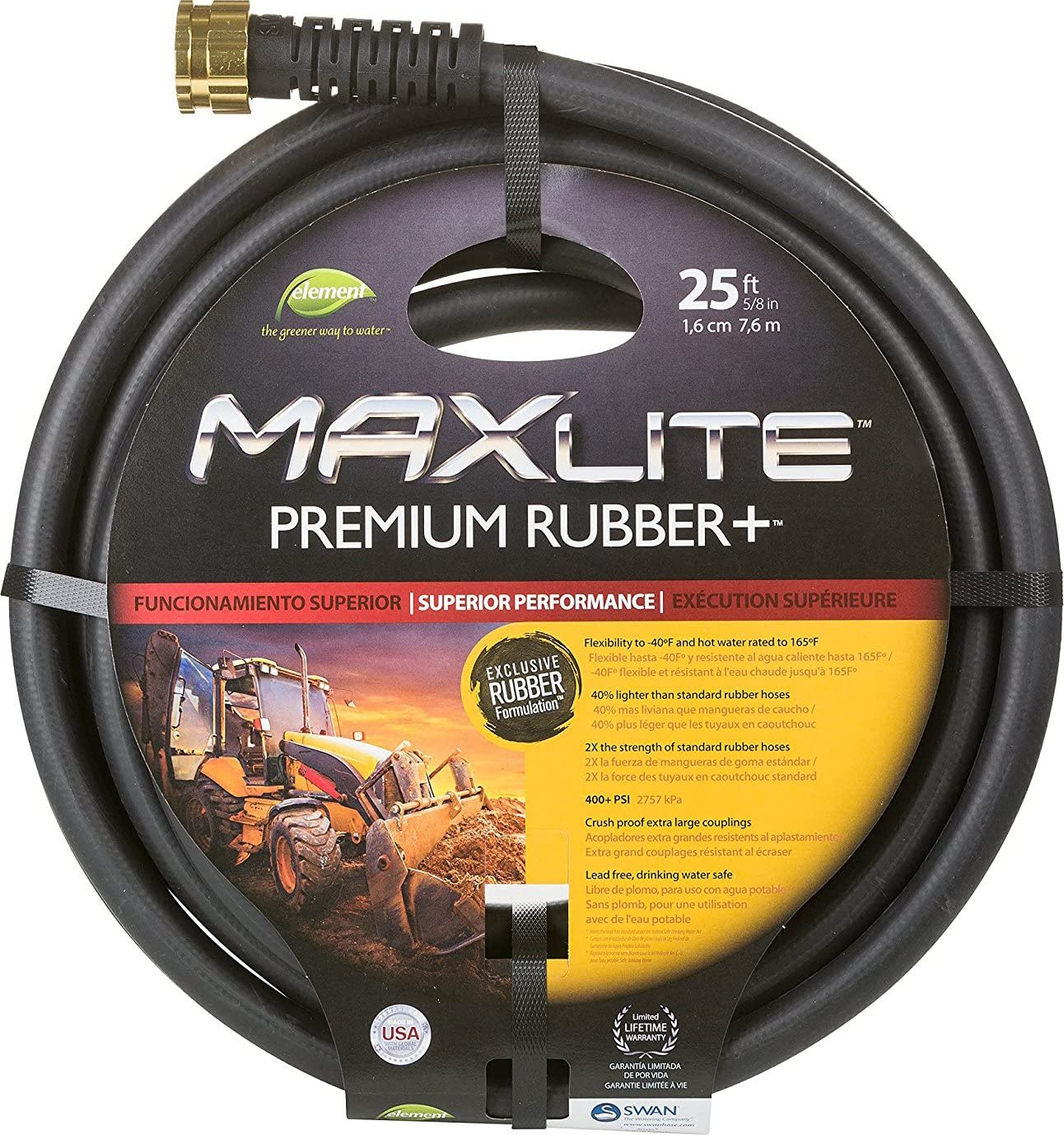 """Swan Products CELSGC58025 Element MAXLite Premium Rubber+ Water Hose with Crush Proof Couplings 25' x 5/8"""", Black"""