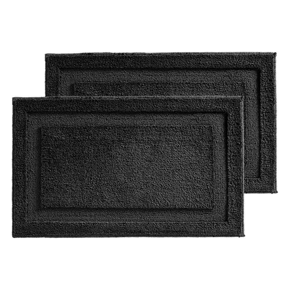 "InterDesign Microfiber Spa Bathroom Accent Rug, 34"" x 21'' Inches, Black- Set of 2"