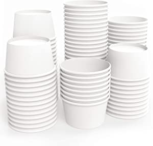 Paper Ice Cream Cups - 75-count White 8-oz Ice Cream Bowls Disposable Can Be Used For Multi Purposes - 8-oz Ice Cream Cup Can Be Used For Your Desserts, Yogurt And Other Hot And Cold Food