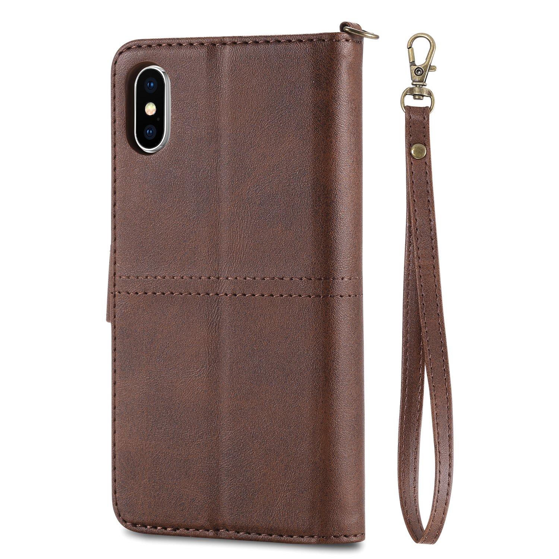 Felfy Flip Custodia Compatibile con iPhone X Cover,Compatibile con Custodia iPhone 10 Portafoglio Pelle,2 in 1 Multifunzione Bling Rosso Wallet Removibile TPU Back Cover con 3 Slots