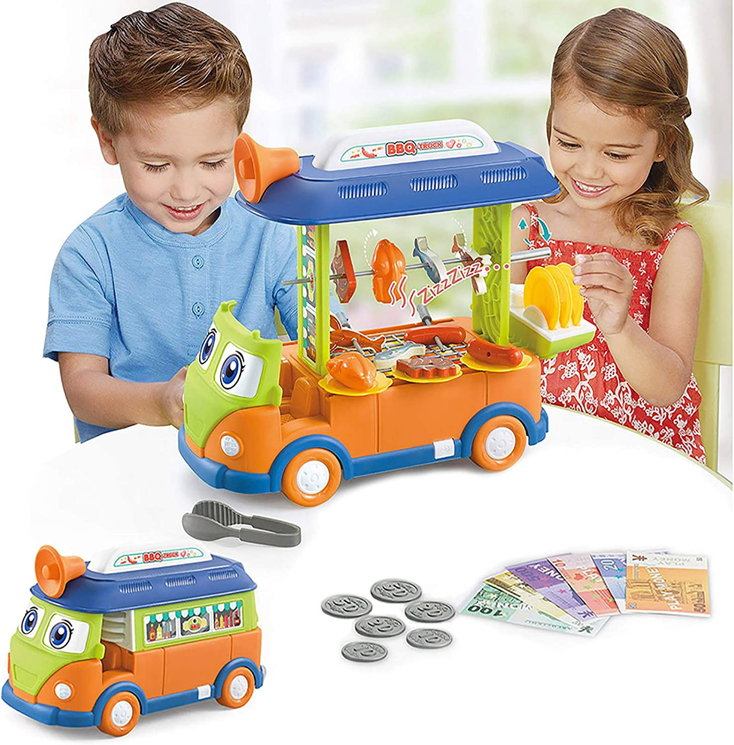 EylbKey BBQ Toy Cart Food Cart Play Set for Kids, Pretend Play Food Truck Set with Light and Sounds for Girls and Boys - Green Orange