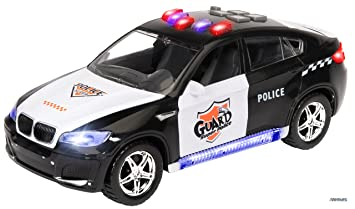 memtes electric police car toy for kids with flashing lights and sirens sounds bump and