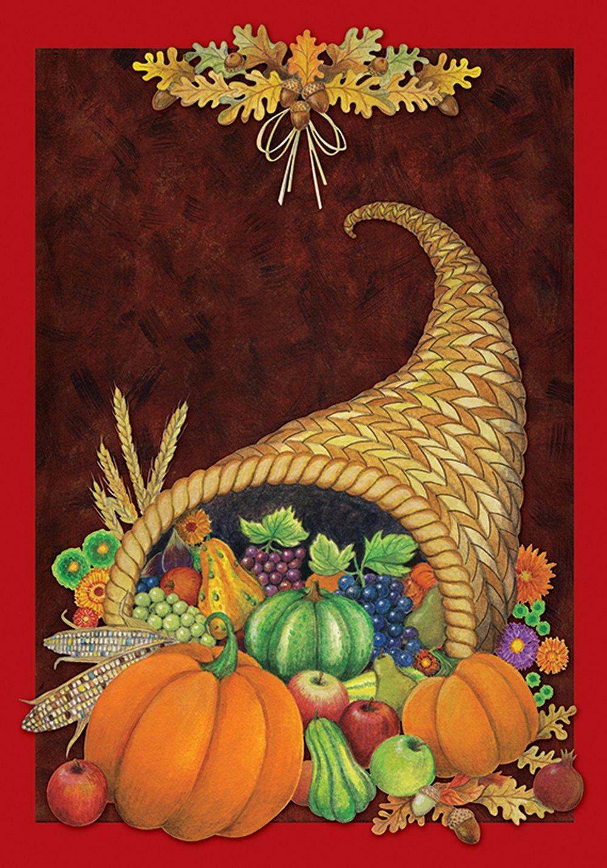 Toland Home Garden Cornucopia 12.5 x 18 Inch Decorative Fall Autumn Harvest Thanksgiving Garden Flag
