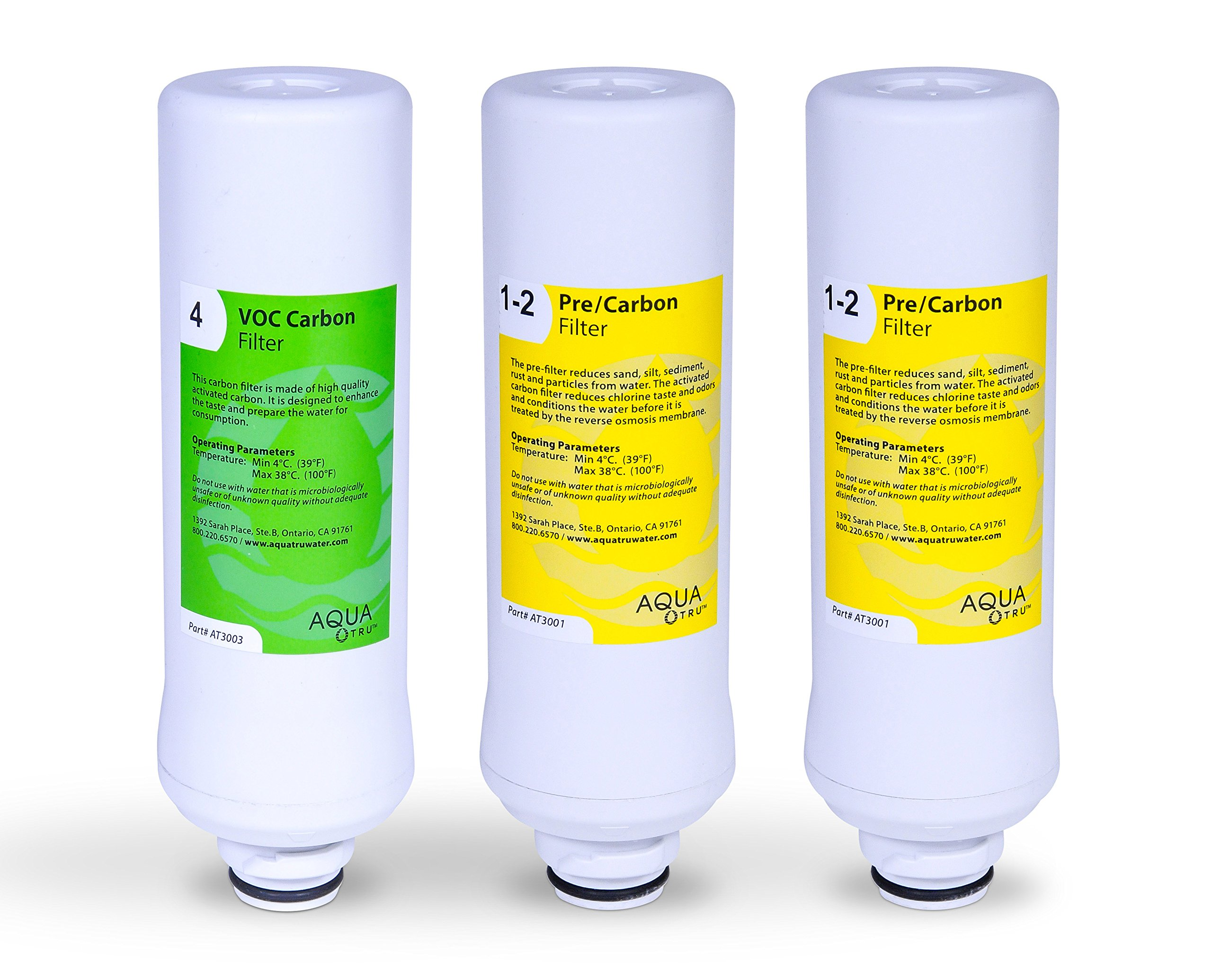 AquaTru 1 Year Combo Pack - Includes 2 Pre-Filters and 1 Carbon Filter