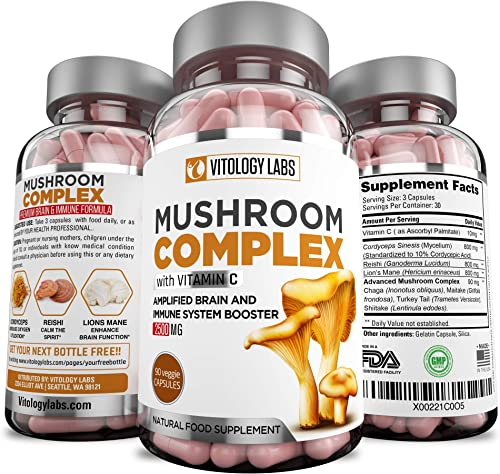 Vitology Labs Mushroom Supplement 2500mg Vitamin C 90 Capsules – 7 Blend Organic Lions Mane, Cordyceps, Reishi, Chaga, Maitake, Shiitake Turkey Tail Immune System Nootropic Brain Booster