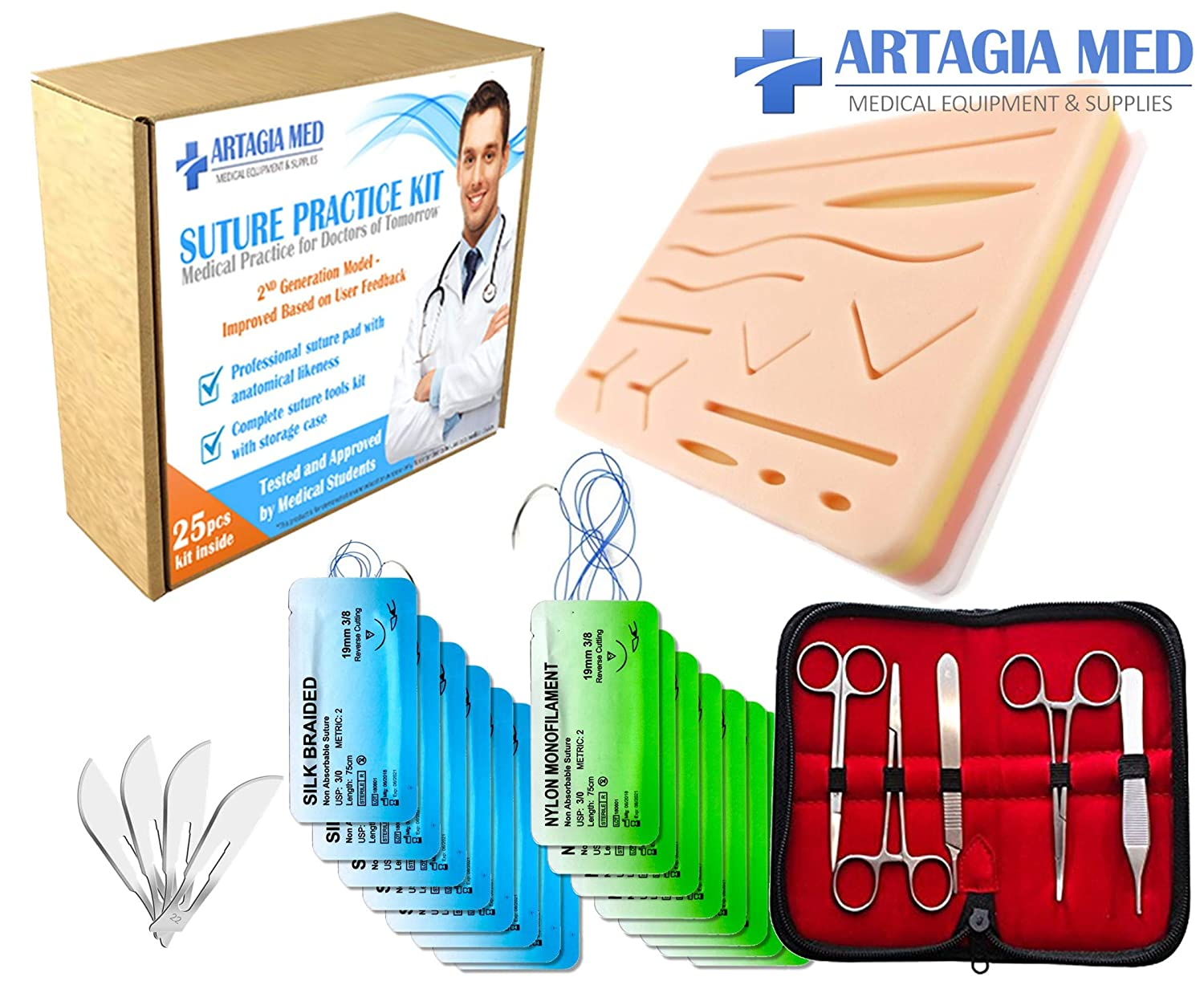 Complete Suture Practice Kit for Suture Training, including Large Silicone Suture Pad with pre-cut wounds and suture tool kit (25 pieces). 2nd Generation Model. (Demonstration and Education Use Only) ARTAGIA
