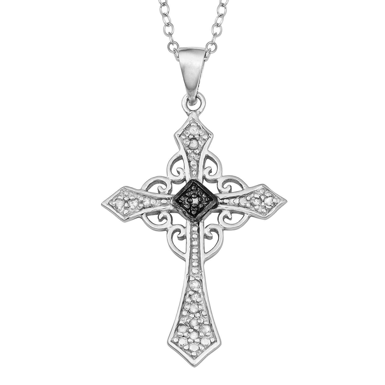Sterling Silver Diamond-Accent Celtic Cross Pendant Necklace (18 inch)
