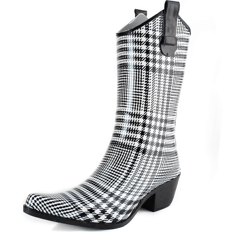 DailyShoes Cowboy Rose Skull Floral Prints High Heel Rain Boots B00HVKF9LW 9 M US|Black & White Lattice