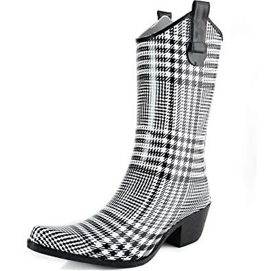 Dailyshoes cowboy prints high heel rain boots black white lattice 8 b