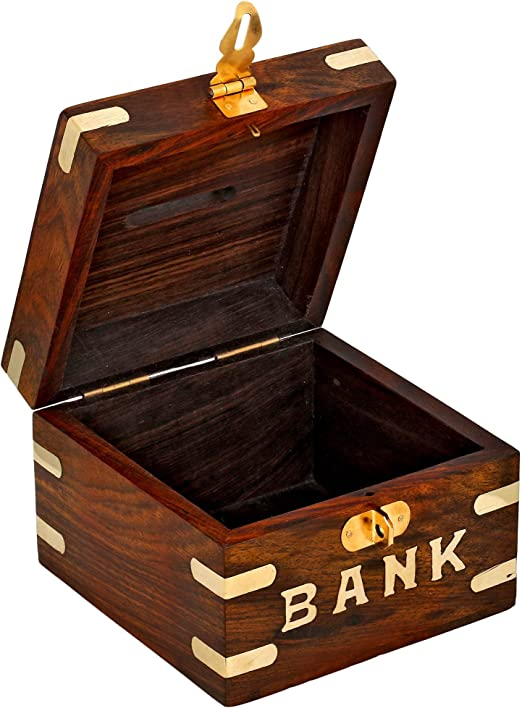 HOT1950s Carving Handmade Wooden Piggy Bank Decoration Unique Keepsake Gifts for Kids /& Adults Safe Money Box Savings with Lock