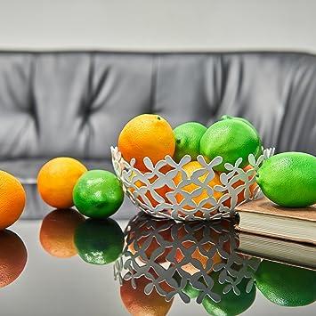KWELS Fruit Bowl U2013 Stylish, Timeless Steel Fruit Basket For Kitchen  Tables,White