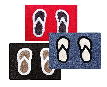 Selective Premium Heavy Quality Polyester Tufted Bath Mat/Door Mat Set of 3 (15 x 22 inch)