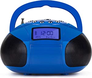 August SE20 - Mini Bluetooth MP3 Stereo - Portable Radio with Powerful Bluetooth Speakers - FM Alarm Clock Radio with SD Card Reader, USB and AUX in - Blue