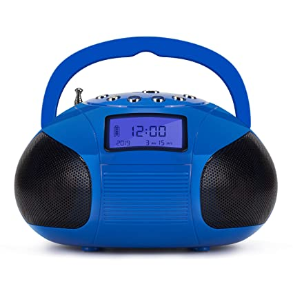 Mini Stereo Speaker, August Portable Radio Alarm Clock MP3 System with Powerful Bluetooth Speaker- FM Alarm Clock Radio with Card Reader, USB and AUX ...