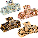 4 PCS Big Hair Claw Clips, 4 inch Large Tortoise Shell Hair Clips, Non-slip Acetate Barrettes, Hold Strong Jaw Clips, Marble