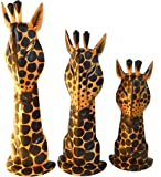 Set 3 Large Hand Carved Wooden African Family Giraffes Statue Sculpture