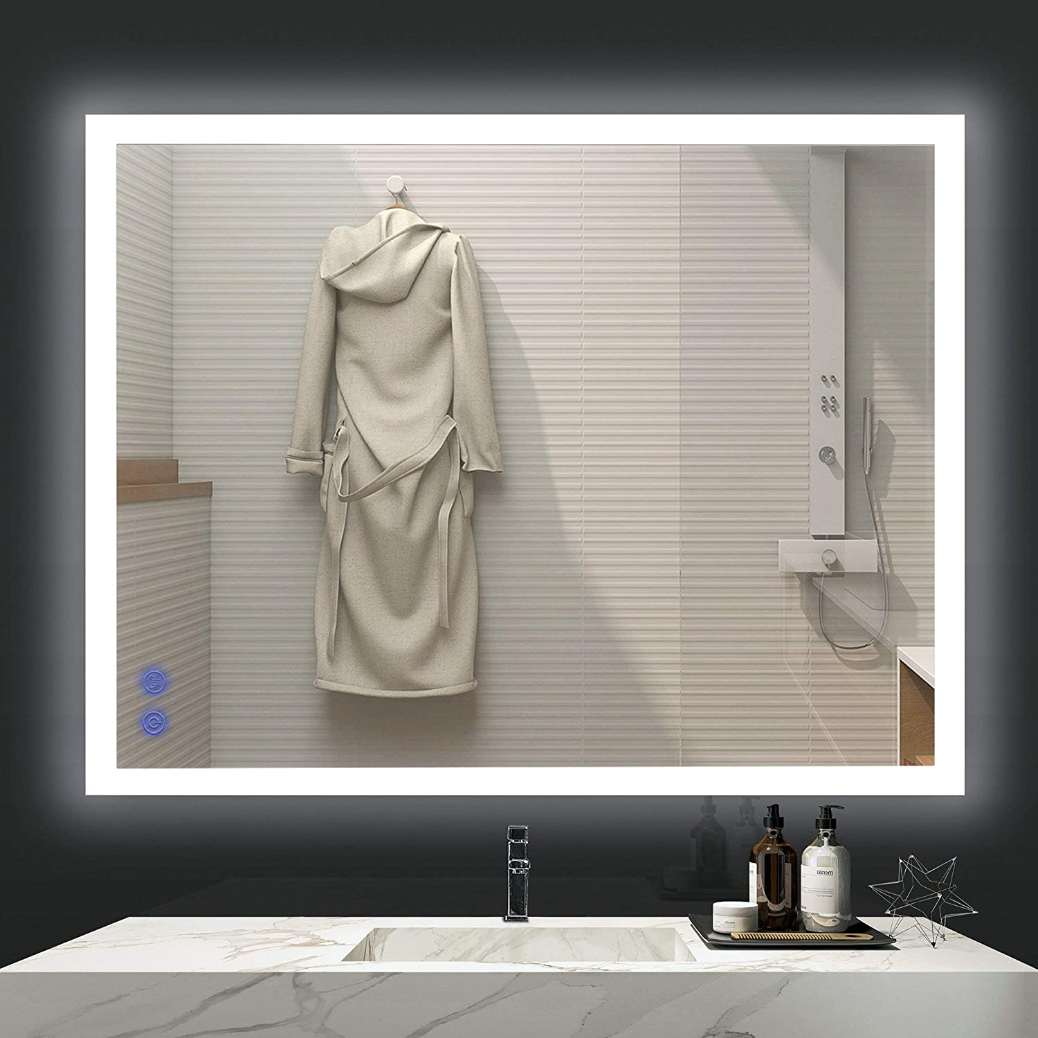 Amazon Com Venetio 36 X 28 Inch Led Lighted Mirror For Bathroom Vanity Wall Mounted Frameless Makeup Mirror Backlit Design With Adjustable Daylights And Memory Touch Button Anti Fog And Waterproof Function Kitchen