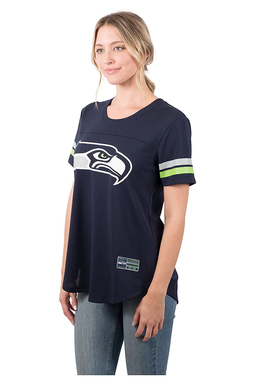 NFL Seattle Seahawks Ultra Game Womens MESH S//S CREW YORK TEE Navy X-Large