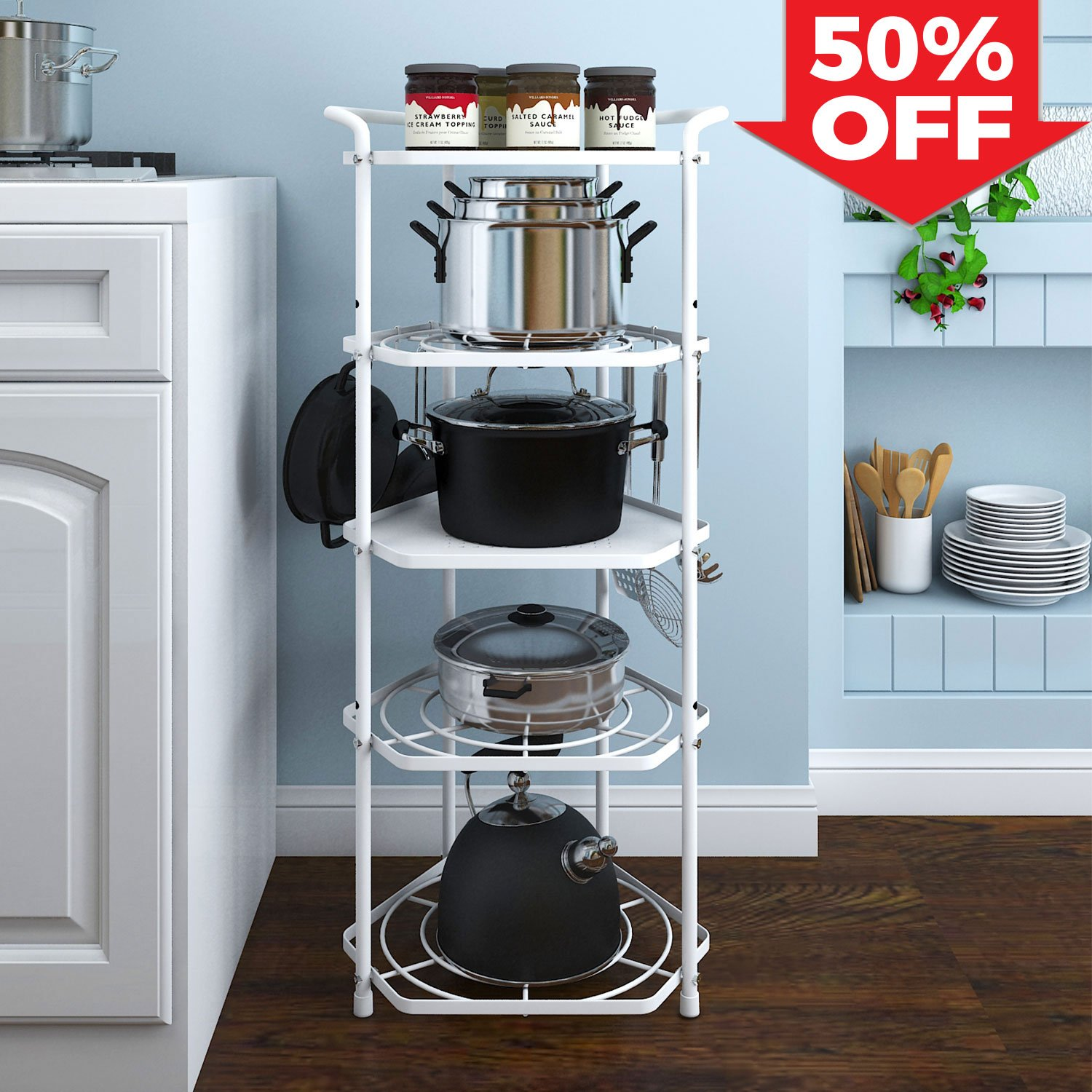 Lifewit Pan Pot Organizer Rack Cookware Stand with 6 Hooks, 5 Tiers ...