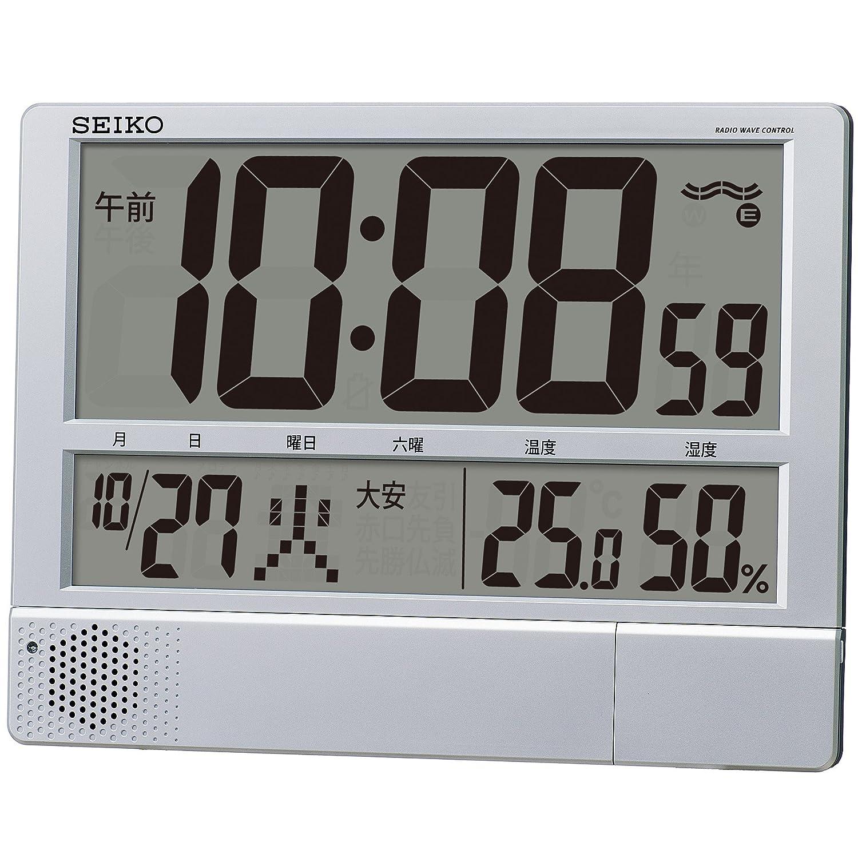 セイコー クロック 掛け時計 置き時計 兼用 電波 デジタル プログラム機能 カレンダー 六曜 温度 湿度 表示 大型 薄型 軽量 銀色 メタリック SQ434S SEIKO B00SWPCXGY