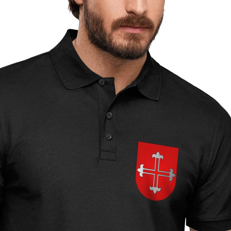 ZWZHI All Things Knights Templar Printed Mens Polo Shirt Party Cotton Shirt Top
