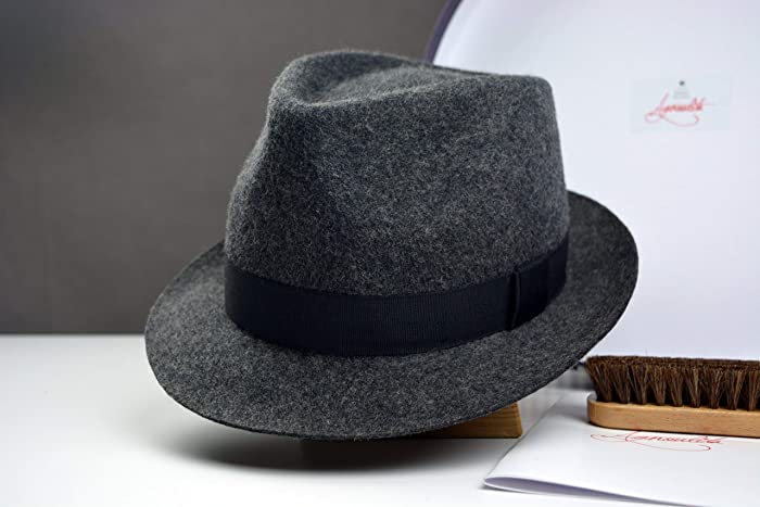 176d6c986 The Andy - Wool Felt Tweed Trilby Fedora Hat - Narrow Brim - Men Women
